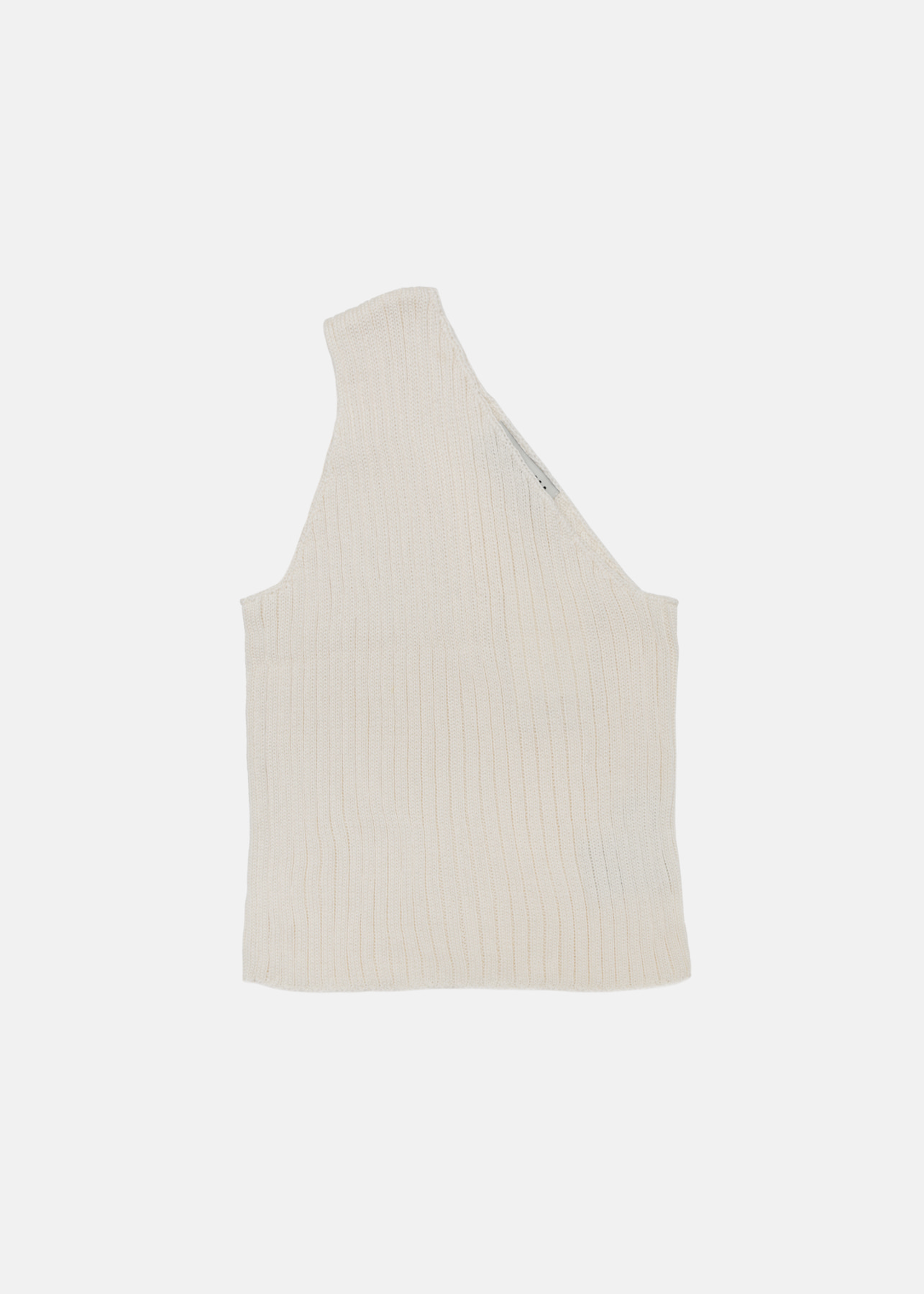 ONE SHOULDER RIBBED KNIT TOP IVORY