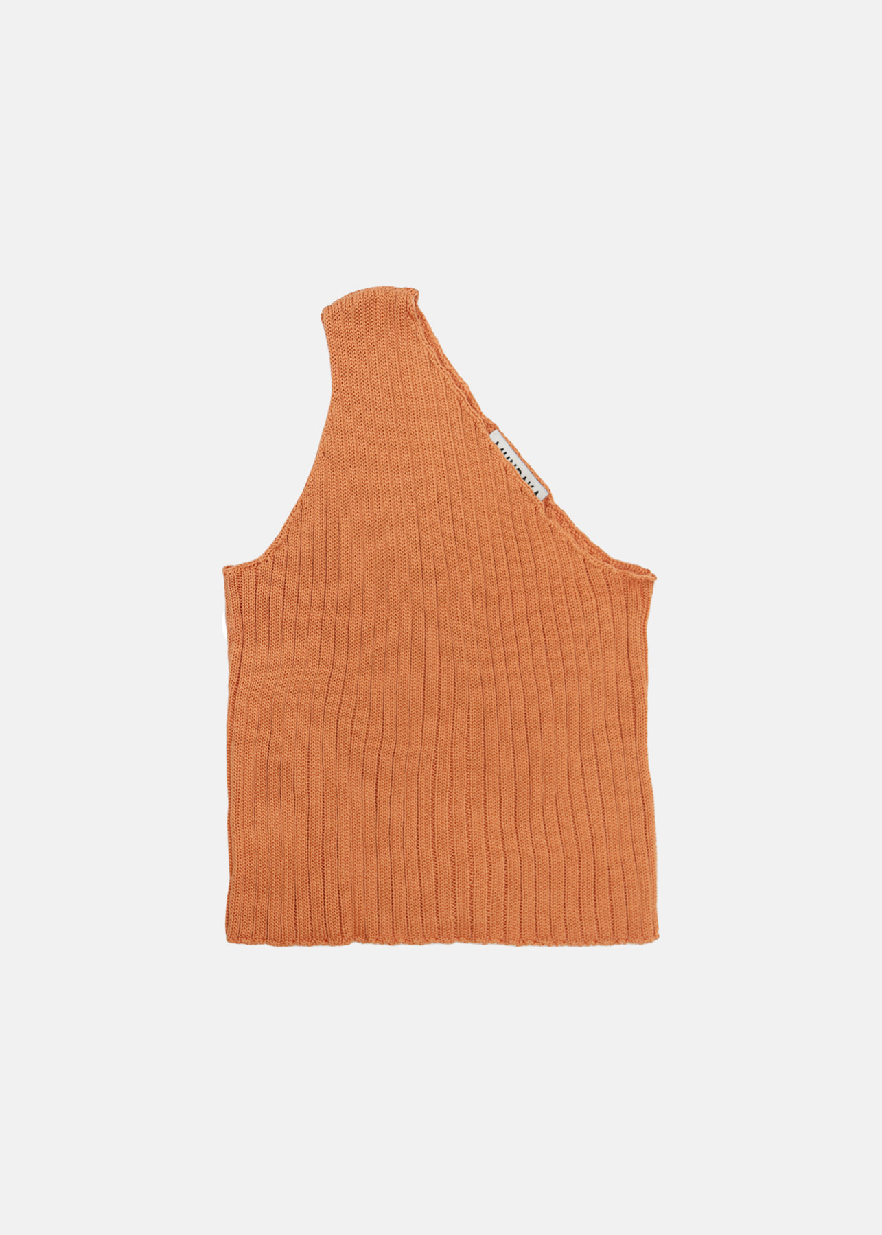 ONE SHOULDER RIBBED KNIT TOP CARROT
